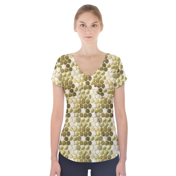 Cleopatras Gold Short Sleeve Front Detail Top