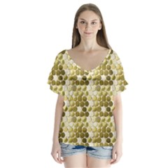 Cleopatras Gold Flutter Sleeve Top