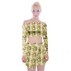 Cleopatras Gold Off Shoulder Top With Skirt Set