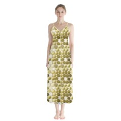 Cleopatras Gold Button Up Chiffon Maxi Dress