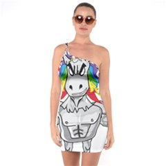 Angry Unicorn One Soulder Bodycon Dress