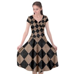 Square2 Black Marble & Brown Colored Pencil Cap Sleeve Wrap Front Dress