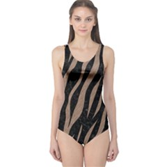Skin3 Black Marble & Brown Colored Pencil One Piece Swimsuit