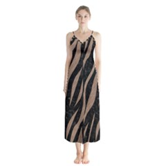 Skin3 Black Marble & Brown Colored Pencil Button Up Chiffon Maxi Dress