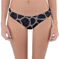 Skin1 Black Marble & Brown Colored Pencil (r) Reversible Hipster Bikini Bottoms