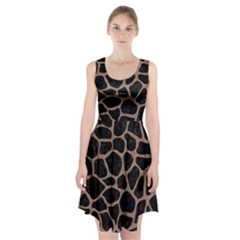 Skin1 Black Marble & Brown Colored Pencil (r) Racerback Midi Dress