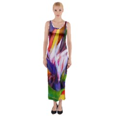 Palms02 Fitted Maxi Dress