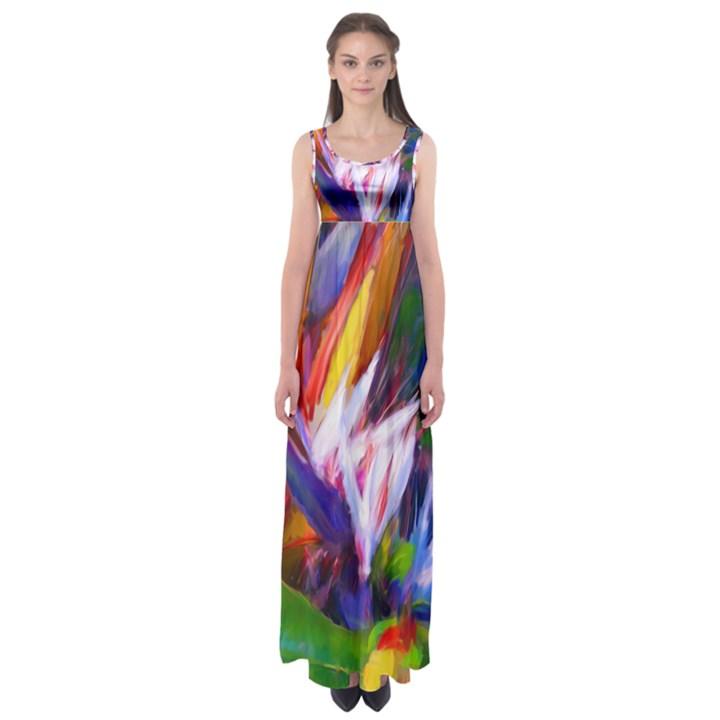 Palms02 Empire Waist Maxi Dress