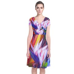 Palms02 Short Sleeve Front Wrap Dress