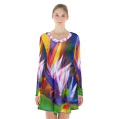 Palms02 Long Sleeve Velvet V Neck Dress