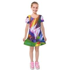Palms02 Kids  Short Sleeve Velvet Dress