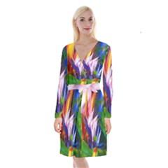 Palms02 Long Sleeve Velvet Front Wrap Dress