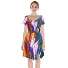 Palms02 Short Sleeve Bardot Dress