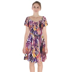 Autumnn Rainbow Short Sleeve Bardot Dress