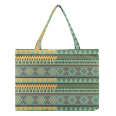 Bezold Effect Traditional Medium Dimensional Symmetrical Different Similar Shapes Triangle Green Yel Medium Tote Bag