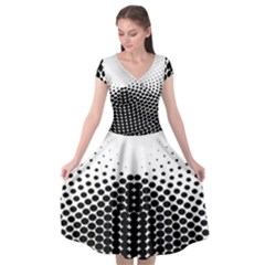 Black White Polkadots Line Polka Dots Cap Sleeve Wrap Front Dress
