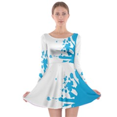 Blue Stain Spot Paint Long Sleeve Skater Dress