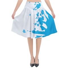 Blue Stain Spot Paint Flared Midi Skirt