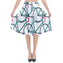 Bicycle Cycling Bike Green Sport Flared Midi Skirt
