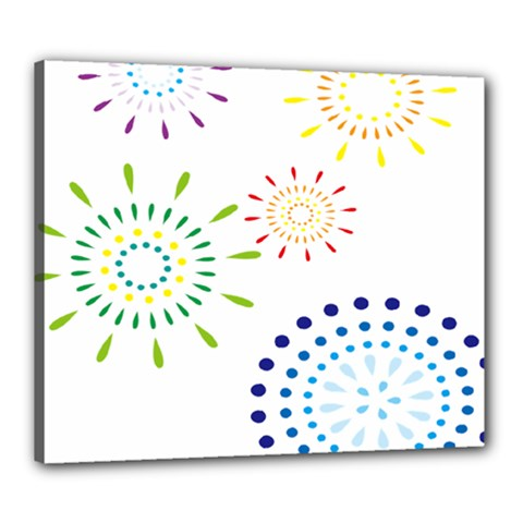 Fireworks Illustrations Fire Partty Polka Canvas 24  X 20