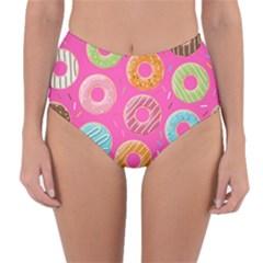 Doughnut Bread Donuts Pink Reversible High Waist Bikini Bottoms