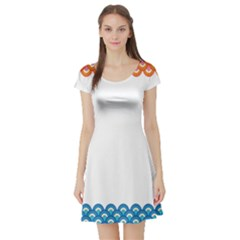 Fish Scales Dragon Circle Short Sleeve Skater Dress