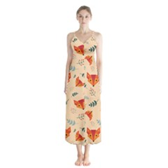 Foxes Animals Face Orange Button Up Chiffon Maxi Dress