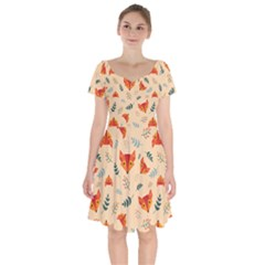 Foxes Animals Face Orange Short Sleeve Bardot Dress