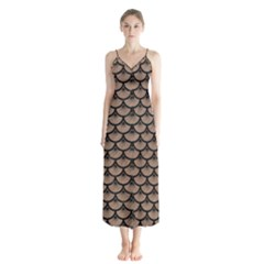Scales3 Black Marble & Brown Colored Pencil (r) Button Up Chiffon Maxi Dress