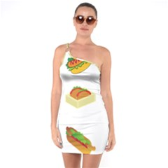 Hot Dog Buns Sauce Bread One Soulder Bodycon Dress