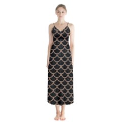 Scales1 Black Marble & Brown Colored Pencil Button Up Chiffon Maxi Dress