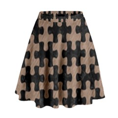 Puzzle1 Black Marble & Brown Colored Pencil High Waist Skirt