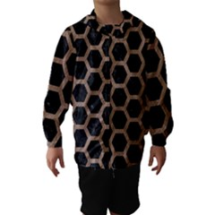 Hexagon2 Black Marble & Brown Colored Pencil Hooded Wind Breaker (kids)
