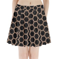 Hexagon2 Black Marble & Brown Colored Pencil Pleated Mini Skirt