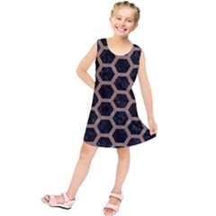 Hexagon2 Black Marble & Brown Colored Pencil Kids  Tunic Dress