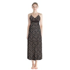 Hexagon1 Black Marble & Brown Colored Pencil Button Up Chiffon Maxi Dress