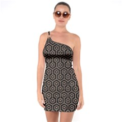 Hexagon1 Black Marble & Brown Colored Pencil One Shoulder Ring Trim Bodycon Dress