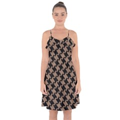 Houndstooth2 Black Marble & Brown Colored Pencil Ruffle Detail Chiffon Dress