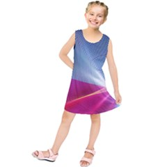Light Means Net Pink Rainbow Waves Wave Chevron Red Kids  Tunic Dress