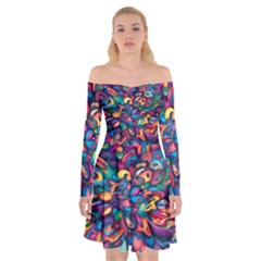 Moreau Rainbow Paint Off Shoulder Skater Dress