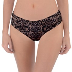 Damask2 Black Marble & Brown Colored Pencil (r) Reversible Classic Bikini Bottoms
