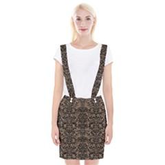 Damask2 Black Marble & Brown Colored Pencil (r) Braces Suspender Skirt