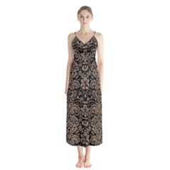 Damask2 Black Marble & Brown Colored Pencil Button Up Chiffon Maxi Dress
