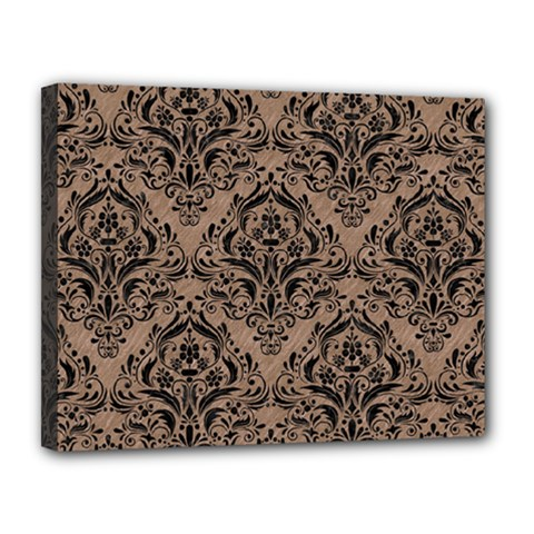 Damask1 Black Marble & Brown Colored Pencil (r) Canvas 14  X 11  (stretched)