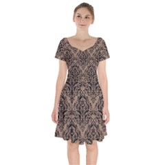 Damask1 Black Marble & Brown Colored Pencil (r) Short Sleeve Bardot Dress