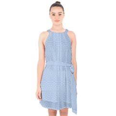 Seamless Lines Concentric Circles Trendy Color Heavenly Light Airy Blue Halter Collar Waist Tie Chiffon Dress