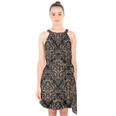 Damask1 Black Marble & Brown Colored Pencil Halter Collar Waist Tie Chiffon Dress