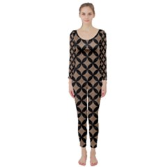 Circles3 Black Marble & Brown Colored Pencil (r) Long Sleeve Catsuit