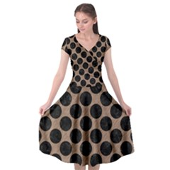 Circles2 Black Marble & Brown Colored Pencil (r) Cap Sleeve Wrap Front Dress