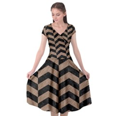 Chevron2 Black Marble & Brown Colored Pencil Cap Sleeve Wrap Front Dress